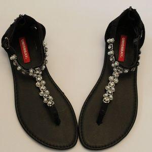 Jeweled Black Summer Sandals 8.5